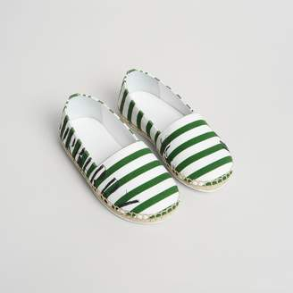 Burberry SW1 Print Striped Cotton Espadrilles