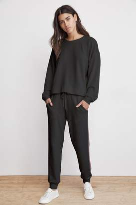 Velvet by Graham & Spencer JETTA METALLIC TRIM LUXE FLEECE SWEATPANT