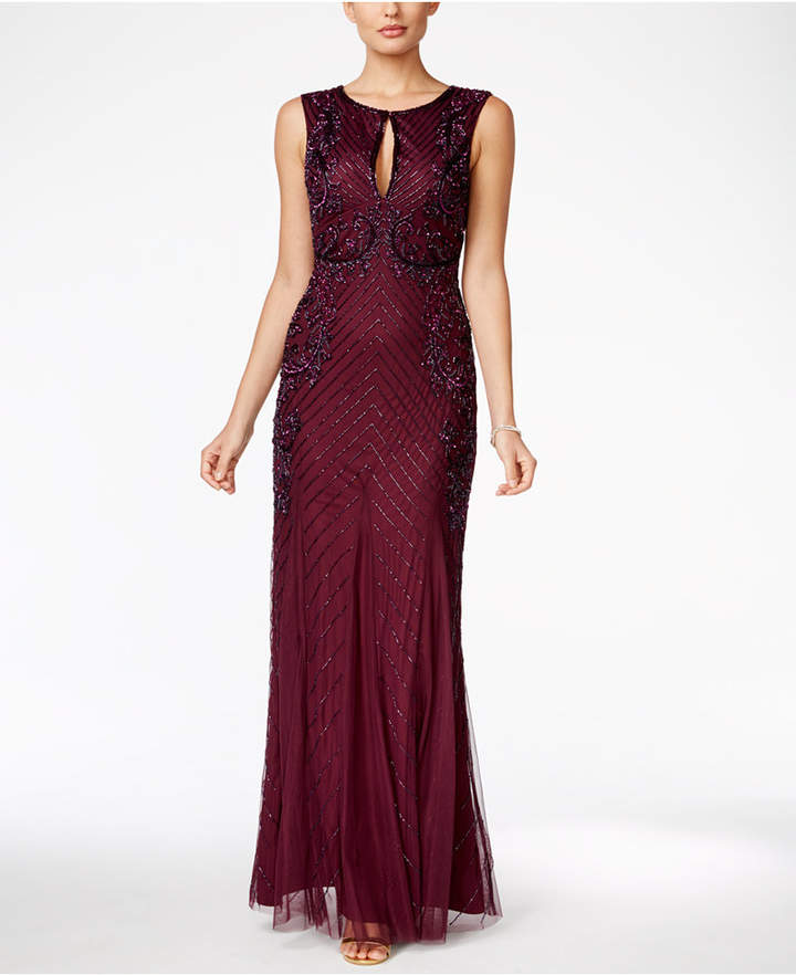Adrianna Papell Adrianna Papell Beaded Keyhole Gown