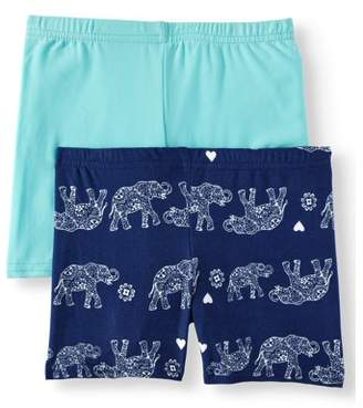 ONE STEP UP Elephant Print and Solid Bike Shorts, 2-Pack (Little Girls & Big Girls)