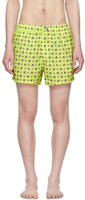 Kenzo Yellow Medallions Logo Swim Shorts