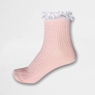 River Island Womens Pink glitter cable knit frill ankle socks