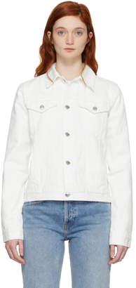 Helmut Lang White Square Shoulder Denim Jacket