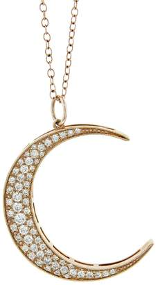 Andrea Fohrman Large White Diamond Luna Necklace - Rose Gold