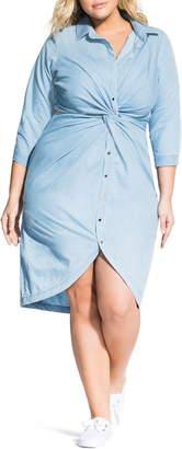 City Chic Twist Chambray Shirtdress