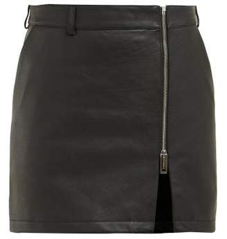 Burberry Zip Front Leather Mini Skirt - Womens - Black