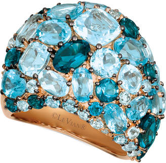 LeVian Le Vian Strawberry & Nude Blue Topaz (10-7/8 ct. t.w.) & Diamond (1/8 ct. t.w.) Ring in 14k Rose Gold