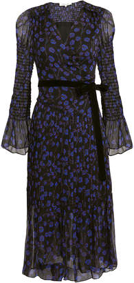 Diane von Furstenberg Ani Smocked Sleeve Midi Dress