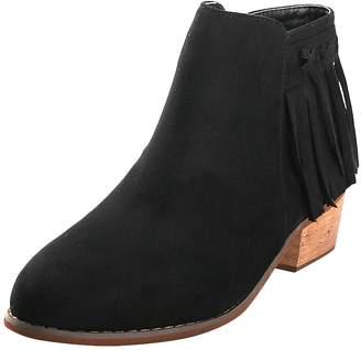 Leroy Alexis Women's Tassels Mid Ankle Solid Heeled Jodhpur Short Boots