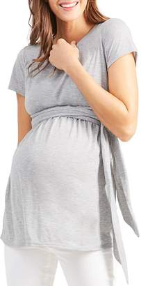 48c3f2d34e390 Ingrid & Isabel Maternity Short Sleeve Tie Waist Top