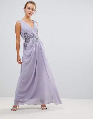 Little Mistress V Neck Maxi Dress With Embellished Detail