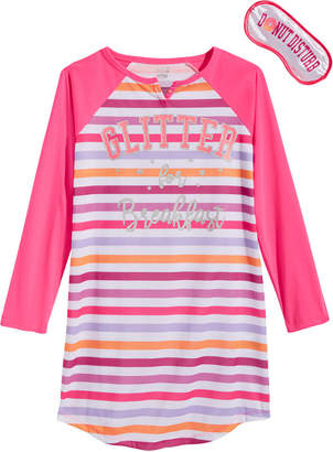 Max & Olivia Big Girls Glitter For Breakfast Graphic Nightgown & Eye Shade