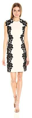 Betsey Johnson Women's Scuba Crepe Sheath Dress with Lace Trim