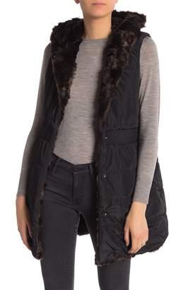 Via Spiga Reversible Faux Fur Hooded Vest