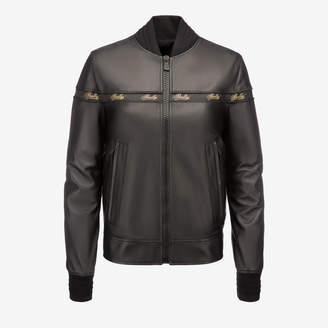 Bally Nappa Ribbon Bomber Jacket Black, Women's lamb nappa leather bomber jacket in black