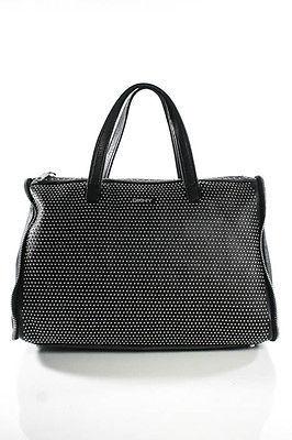 DKNYDKNY Black Leather Studded Zipper Trim Shoulder Handbag