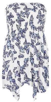 Yours Clothing Women's Plus Size Butterfly Print Bandeau Top With Hanky Hem