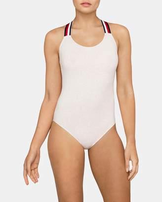 Tommy Hilfiger Modern Stripe Elastic Front Bodysuit