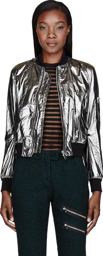 Yang Li Metallic Silver MA-1 Jacket