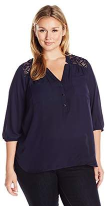 Notations Women's Plus Size Solid 3/4 Sleeve Y Neck Mandarin Collar Henley Blouse With Lace