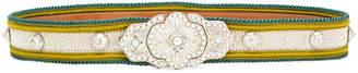 Etro pearl embellished buckle belt
