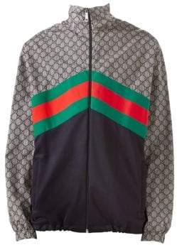 df3a8e7494e ... Gucci Men s Oversize Technical Jersey Jacket - Ink Green Live Red -  Size Large