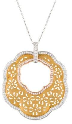 18K Jenny Perl Floral Wavy Diamond Pendant Necklace