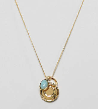 Asos DESIGN Premium gold plated necklace with coin and semi-precious stone pendants