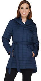 Halston H by Quilted Down Water Repellant ShawlCollar Coat
