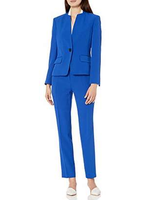 Le Suit Women's 1 Button Crepe Slim Pant Suit