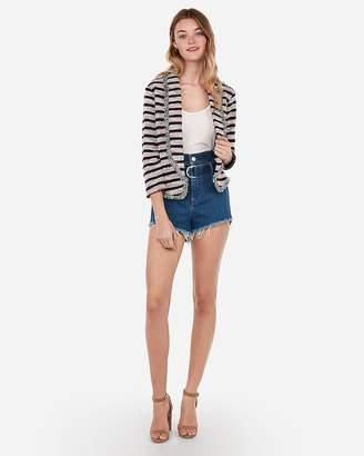 Express Frayed Striped Tweed Knit Cropped Blazer