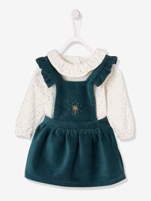 Vertbaudet Corduroy Dress + Bodysuit Outfit, for Newborn Babies
