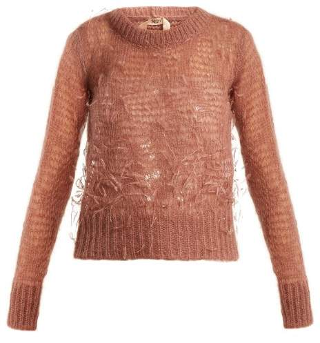 NO. 21 Ostrich-feather embellished mohair-blend sweater