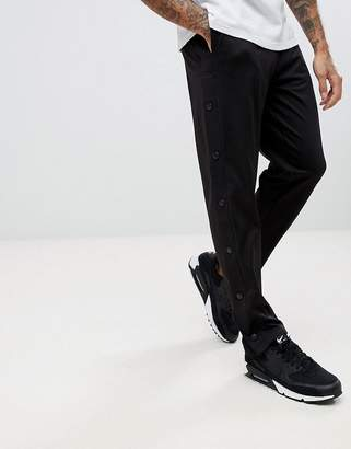 Asos Slim Retro Track Joggers With Poppers In Black