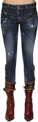 DSQUARED2 Skinny Denim Jeans W/ Leather Details