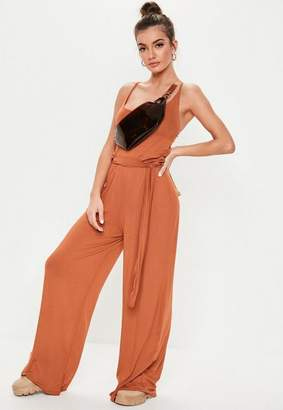 Missguided Rust Slouch Cami Wide Leg Romper