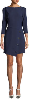 Shoshanna Upton Boat-Neck 3/4-Sleeve Asymmetric Dress w/ Button Skirt