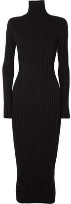 Haider Ackermann Ribbed Wool And Silk-blend Turtleneck Midi Dress - Black