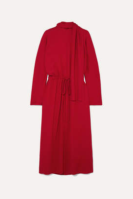 Valentino Tie-detailed Drawstring Crepe Dress - Red