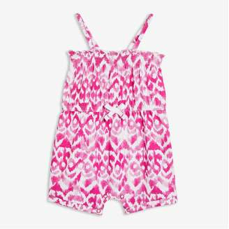 Joe Fresh Baby Girls' Print Romper, Bright Pink (Size 3-6)