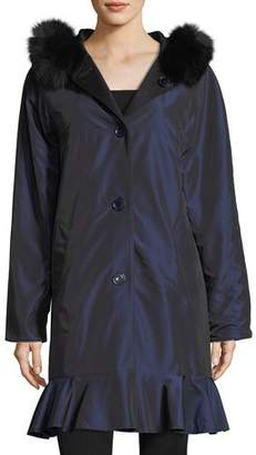 Sofia Cashmere Long-Sleeve Button-Front Reversible Raincoat w/ Fur Trim