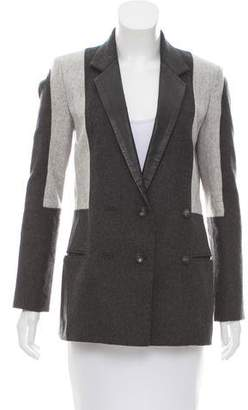 Helmut Lang Leather-Trimmed Double-Breasted Jacket