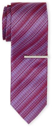Calvin Klein Berry Dissolving Grid Tie