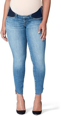 Good American Good Mama The Honeymoon Low Rise Cascade Hem Maternity Skinny Jeans