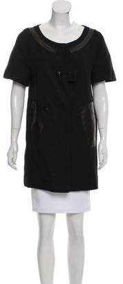 Chloé Leather-Accented Short Sleeve Jacket