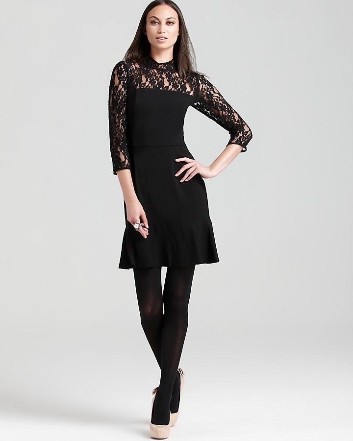DKNY Three Quarter Sleeve Lace Dress with Ruffled Hem