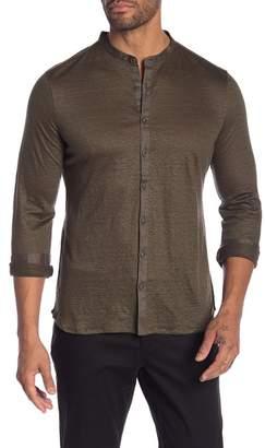 John Varvatos Mandarin Collar Linen Shirt