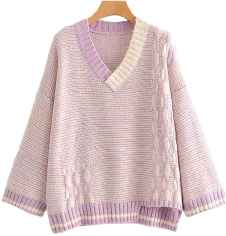 Goodnight Macaroon 'Ruby' Knitted Striped V Neck Sweater (2 Colors)