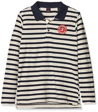 Scotch & Soda Shrunk Boy's Sporty Long Sleeve Polo with Artworks Shirt