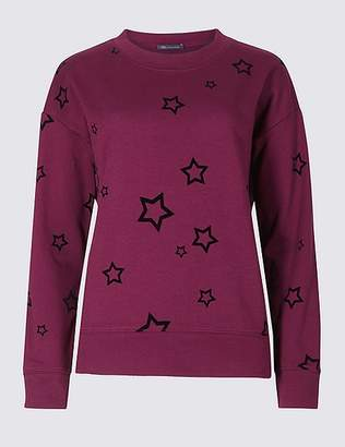 Marks and Spencer Pure Cotton Star Print Sweatshirt
